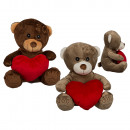 Plush Bear with red heart, 18 cm, 2-color sensor