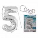 Silberfarbener Folien-Luftballon, Ziffer 5