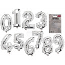 Silver Foil Balloons, Numbers 0-9, 10x s