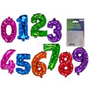 Colored Foil Balloons, Numbers 0-9, about 40 cm,