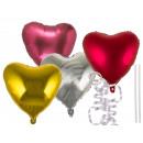 Foil balloon in metal look, heart, approx. 45 cm