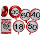 wholesale Food & Beverage: Red Foil Balloons, Happy Birthday - 18, 30,