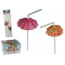 grossiste Articles de fête: Paille en matière  plastique avec mini parasol, env