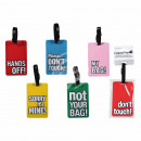 Plastic luggage tag with English sayings