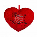 Red plush heart, Happy Birthday, ca. 35 cm