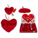 Großhandel Puppen & Plüsch: Rotes Plüschherz, Je t'aime, ca. 10 cm