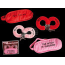 Plush hand cuffs & plush eymask, Sexy with letteri