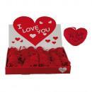 Red plush heart, Ich liebe Dich, ca. 10 cm, 48 pcs