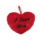Red plush heart, I love you, ca. 26 cm