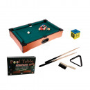 Wooden tabletop pool with 2 cues, 16 balls, triang