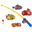 Plastic fishing game, with 1 fishing rod (about 54