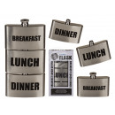 Stainless steel hip flask, breakfast lunch-dinner,