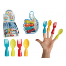 -Kunststoff  Fingerbesteck, ca. 8,5 cm, 4-farbig & 2