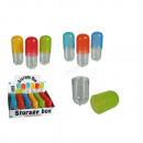 Plastic storage box, capsule, ca. 12 cm, 6 colours