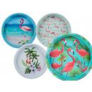Metal tray, Flamingo, D: 33 cm, 4-sor