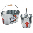 Oval metal bucket with handle and wooden handle, i