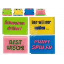 groothandel Reinigingsproducten: Schuimspons pot,  slogans, ongeveer 10 cm, 4-ver
