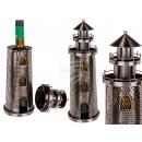 Metal bottle holder, lighthouse, ca. 25 x 14 cm,