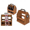 Wooden bottle holder with metal bottle opener