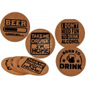 Cork coasters, slogans, D: about 10 cm, set of 4