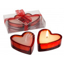 wholesale Home & Living: White candle in red heart glass, ca. 6.5 x 2.5 cm,