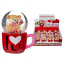 Polyresin glitter ball, bear in mug, I love you