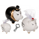 Ceramic money box with lock, bride & groom