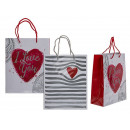 White paper gift bag, heart, about 18 x 8 x 23 c