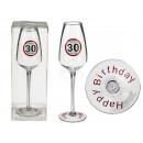 Sektglas, Happy Birthday - 30, ca. 23 cm