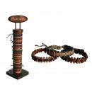 Großhandel Schmuck & Uhren: Leder-Armband mit Baumwollfadenumwickl ung, Ethno S