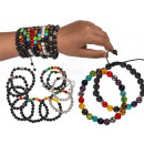 Wooden beads bracelet, chakra, 15 times assorted ,