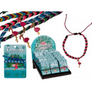 groothandel Sieraden & horloges: Textielarmband met metalen hanger, Flamingo, 4-Fa