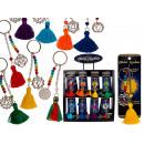 Metal key ring, tassel with chakra attachments