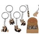 Fém kulcstartó, természetes fa panda