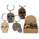 Metal key ring, natural wood skull, approx.