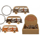 Metal key ring, natural wood hippie bus, approx