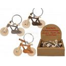 Metal key ring, natural wood bike, approx. 6