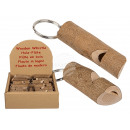 Metal key ring with wooden flute, tree