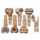 Wood paper clip, heart, about 4 cm, 6- times assor