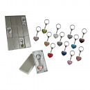 Keyring, glass heart, in gift box, 12 ass., 36 pcs