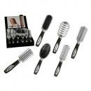 Großhandel Drogerie & Kosmetik: Haarbürste mit Kunststoffgriff in Metalloptik