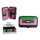 Manicure set, muziek cassette, 5-delige in PVC gev