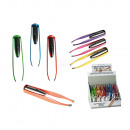 Stainless steel tweezer, Colours, with LED, incl.
