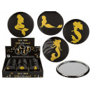 Pocket mirror, Golden mermaid, ca. 7 cm, 4-