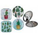 Doppel-Taschenspiegel, Kaktus, 4-fach sortiert
