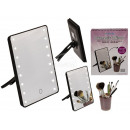 Black plastic make-up mirror with 16 LEDs
