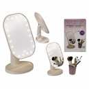 White plastic make-up mirror with 20 LEDs