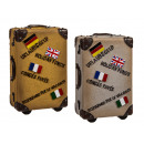 groothandel Koffers & trolleys: Polyresin  spaarpot, koffer, 15 cm, 2-kleuren