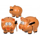 Ceramic money box, pig with hammer, approx. 18 cm