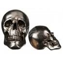 Zilverachtig Polyresin schedel, ongeveer 25 cm